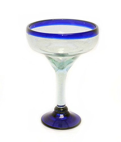 Set of 4, Blue Rim Margarita Glasses, Recycled Glass-14-16 Oz (Rim Margarita)
