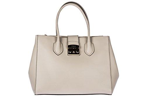 Furla bolso de mano para compras en piel mujer nuevo metropolis beige