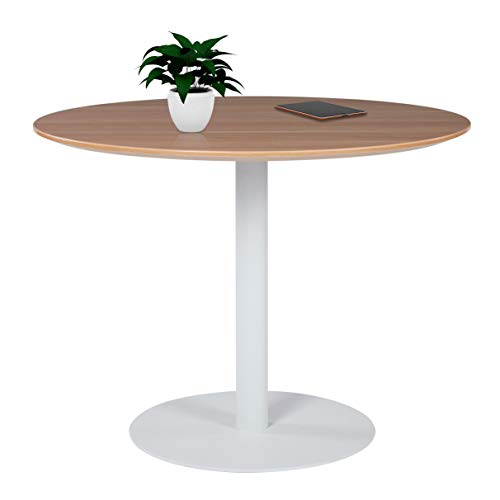 - Sunon Round Conference Table,Small Dining Table with White Pedestal Base (39.9