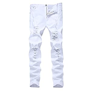 Men's Skinny Slim Fit Ripped Distressed Stretch Jeans Pants