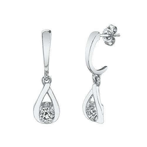 (Sirena 1/5 ct. tw. Round Diamond Dangle Tear-Drop Earrings in 10K White Gold - JSL1714WR5J@10W)