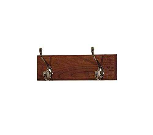 Wood & Style 12-Inch 2-Brass Hook Coat Rack Medium Oak Decor Comfy Living Furniture Deluxe Premium Collection