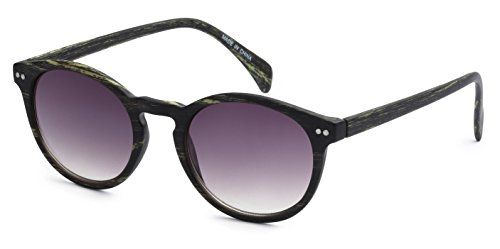 Price comparison product image Eason Eyewear Men / Women's Classic Fashion Inspired Round Sunglasses 50 mm Dark Green Wood Print / Grey