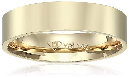 Decadence Unisex 14K Yellow Gold 5mm Polished Flat Comfort Feel Plain Wedding Band, -