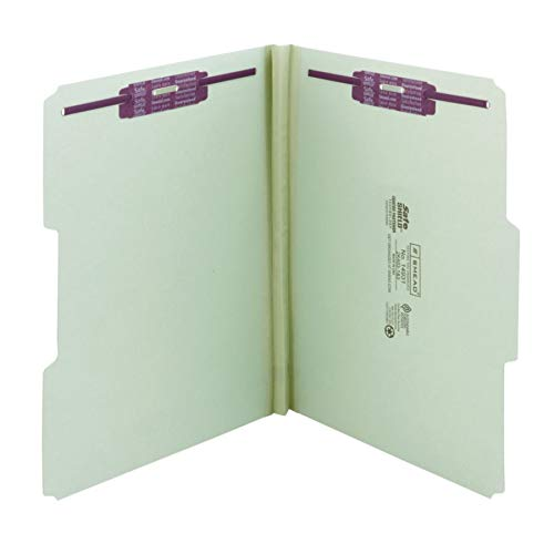 "Smead Pressboard Fastener File Folder with SafeSHIELD Fasteners, 2 Fasteners, 1/3-Cut Tab, 1"" Expansion, Letter Size, Gray/Green, 25 per Box (14931) from Smead"