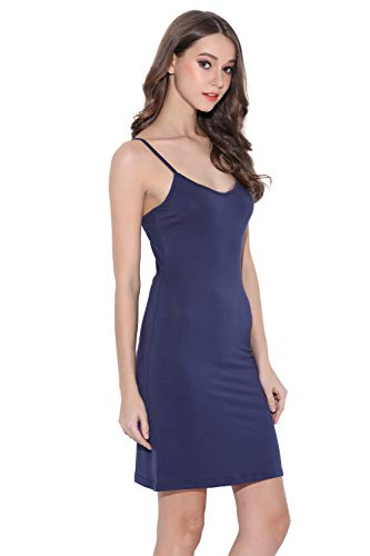Coreal Women Long Spaghetti Strap Full Cami Slip Camisole Under Dress Liner Navy XX-Large