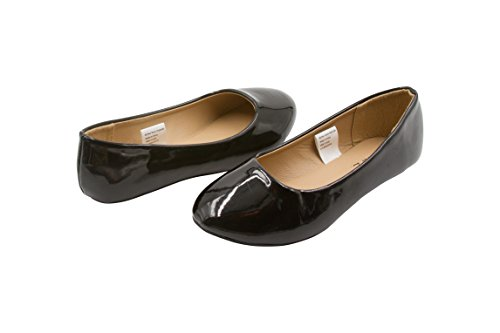 Sara Z Girls Vegan Patent Slip On Ballet Flat Solid Color Black Size (Girls Leather Ballet Flats)
