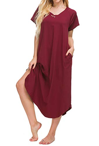 Yozly Loungewear Womens Long Nightgown Cotton Knit Short Sleeve Nightshirt with Pockets S-XXL