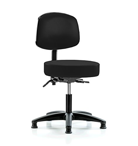 Perch Walter Doctor Stool with Back Support, Stationary Caps, Desk Height, Black Fabric -