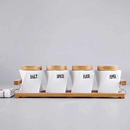 BZM-ZM キッチンストレージはハンドルトレイ密閉型タンク醤油瓶調味料ボックスセットと竹セラミック調味料の瓶4個/セットを提供します