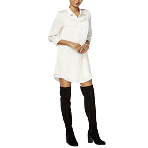 kensie Womens Silk Collared Tunic Top Ivory ()