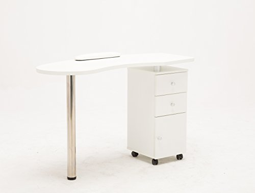 BarberPub White Manicure Nail Table Station Desk Spa Beauty Salon Nail Art Equipment 0411 by Barberpub (Image #9)