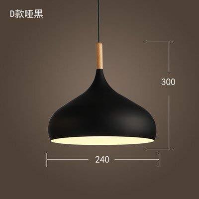 ERD Gzz Deng Home Außenbeleuchtung Pendelleuchten Moderne Einfache Japanischen Stil Retro Industrielle Beleuchtung Restaurant Bar Schlafzimmer Büro Holz Schwarz 24 cm 5 Watt LED