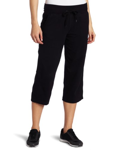 Danskin Women's Drawcord Crop Pant, Black, Large Cropped Pocket