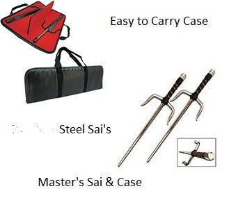 Masters Deluxe Sai Chrome Steel Combo with Carry Case- 15 inch