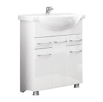 Waschbecken mit unterschrank weiß  Quentis Badmöbelset Neris 75, 2-teilig, weiß glänzend, Waschbecken ...