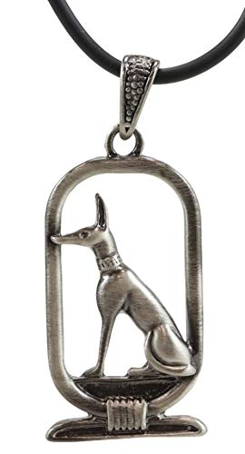 Ebros Ancient Classical Egypt God of The Afterlife Jackal Dog Form Anubis Cartouche Lead Free Pewter Pendant with Rubber Cord Strap Necklace Egyptian Gods Goddesses Legends and Deities Charm -