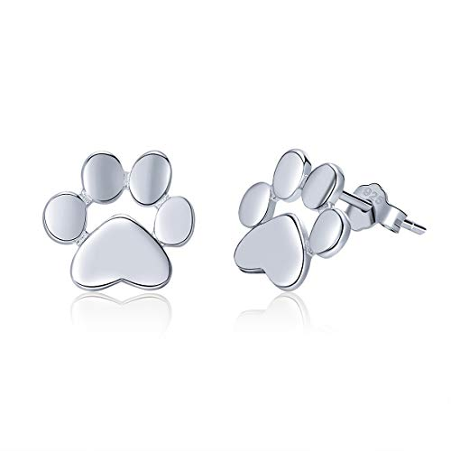 SIMPLOVE 925 Sterling Silver Dog Cat Paw Print Stud Earrings for Women Teen Girls, Cute Animal Pet Footprint Earrings Jewelry Valentine's Day Anniversary Birthday Gift