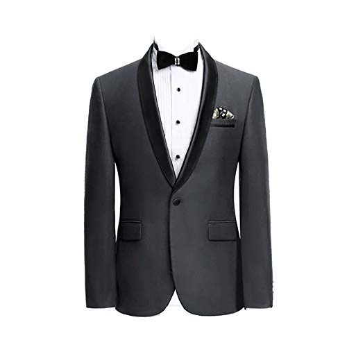 Premium Formal Shawl Lapel Slim Fit Tuxedo Prom Wedding Groom Suits Blazers Jacket - Charcoal Gray Tuxedo