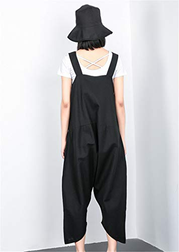 Unica Pantaloni Nero Bretelle Xyzjia Neri Con Taglia HFqndX1