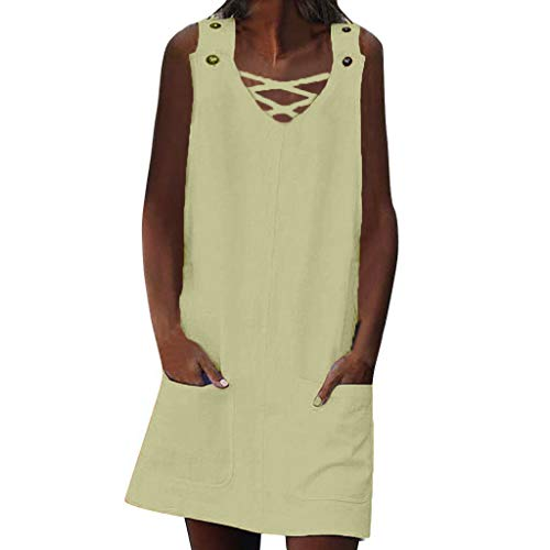 Sunhusing Ladies Solid Color Cross Strappy Lace-Up V-Neck Sleeveless Button Buckle Knee Length Pocket Dress Yellow