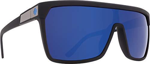 Spy Optic Flynn 670323973317 Wrap Sunglasses, 1.5 mm (Soft Matte Black/Happy Bronze/Dark Blue ()