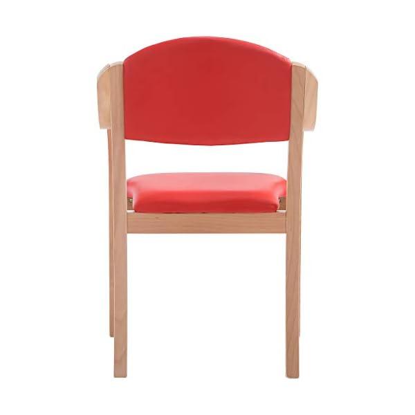 Chaise empilable Devon avec accoudoirs, coloris bordeaux – fauteuil pour salle d'attente à piétement bois – Chaise visiteur rembourrée