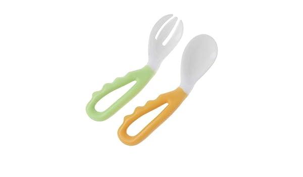 2 Pack Cuchara flexible Tenedor ajustable Vajilla para niños Cubiertos Naranja: Amazon.es: Hogar
