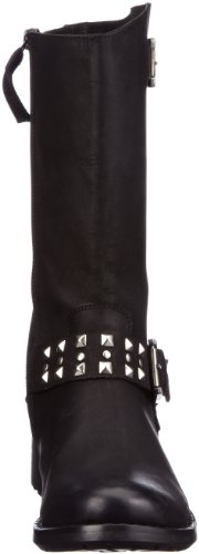 Buffalo London 1000 NEW 02 OIL NUBUCK 135512 - Botas estilo motero de cuero para mujer Negro