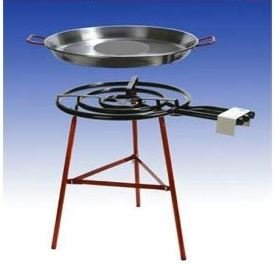 Giant paella grill set for 40 persons with 3-burner, 70 cm gas burner (28KW), 70 cm and 80 cm pan, reinforced feet, incl. hose and pressure reducer Paelleras EL CID