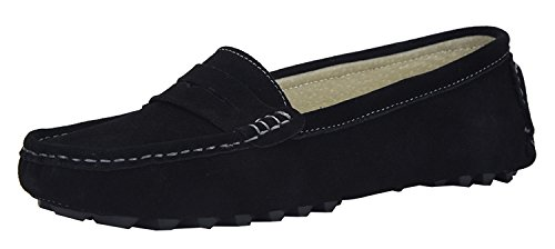 V.J Women's Classic Handsewn Suede Leather Driving Moccasins Penny Loafers Casual Slip On Fashion Boat Shoes VJ6088-HE95FBA Black ()