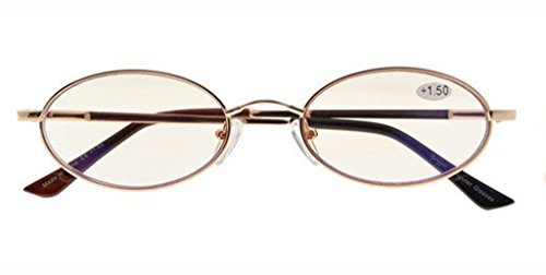 Bridge Lens - Anti Blue Rays,Reduce Eyestrain,UV Protection,Memory Bridge,Titanium,Oval Computer Reading Glasses for Men and Women(Gold,Amber Tinted Lenses) +1.5