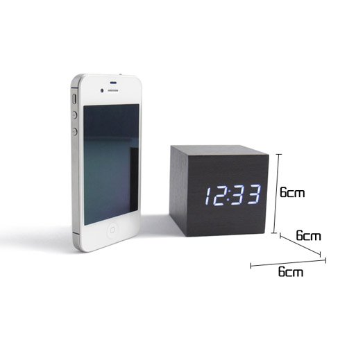 Tzou Cube Wood LED Alarm Clock - Time Temperature Date - Sound Control - Latest Generation by Tzou
