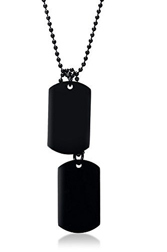Mealguet Jewelry Stainless Steel Gold Plated Army Style Name Engravable Double Dog-tag Pendant Necklace for Men Boy,Black