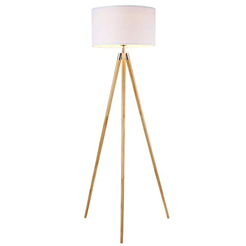 Scandinavian Natural - Light Society Celeste Tripod Floor Lamp, Natural Wood Legs with Satin Nickel Finish and White Fabric Shade, Mid Century Contemporary Modern Style (LS-F233-NAT)