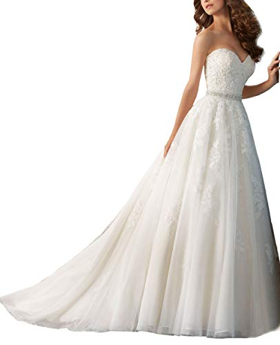 Nicefashion Women's Strapless Empire A-line Chapel Train Wedding Dress with Rhinestone Belt Ivory US4