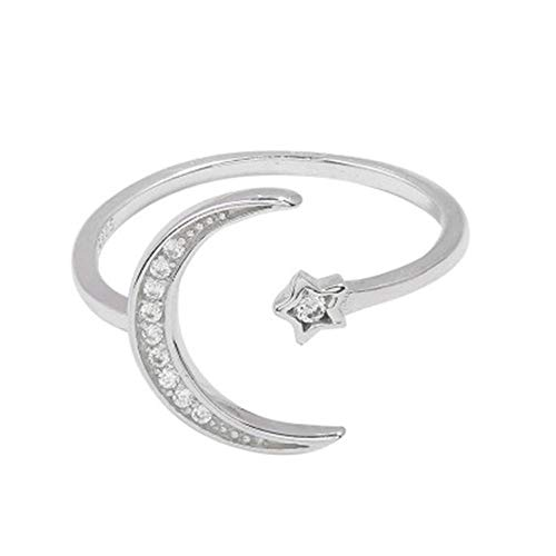 Zircon Star - RUIZHEN Silver Adjustable Zircon Star and Moon Open Ring Gift Jewelry for Women(1)