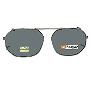 Round Square Polarized Clipon Sunglasses (Pewter-Polarized Gray Lens, 52mm Width x 40mm Height)