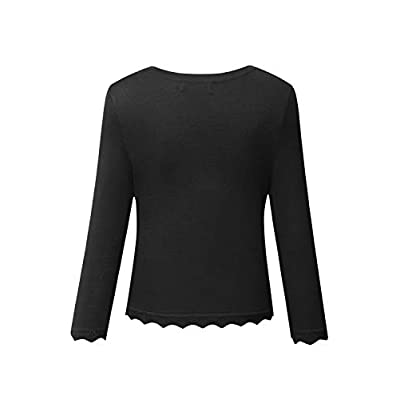 MEROKEETY Women's Bolero Shrug Cardigan V Neck 3/4 Sleeve Button Knit Cropped Sweaters at Women's Clothing store