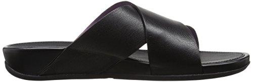 Fitflop Women's AIX Leather Slide Sandals Dress Sandal All Black 1naF6PI