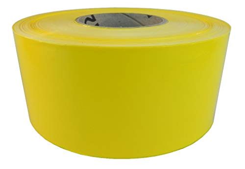 Yellow Flagging Tape - WOD BRC-YNP Barricade Caution Flagging Tape - 3 inch x 1000 feet - High Visibility Bright Yellow for Workplace Safety, Marking Boundaries & Hazardous Areas, Non-Adhesive & Heavy-Duty