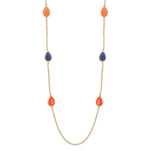 Orange Pendant Necklace - FAMARINE Multicolor Resin Beaded Chain Long Scatter Necklace for Girls Women, Red Blue Green Orange