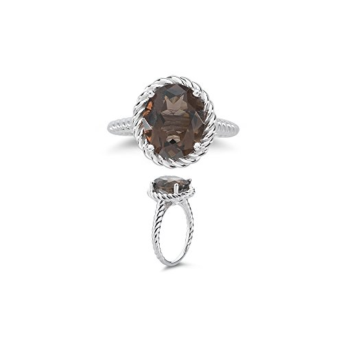 AA Oval Smokey Quartz Solitaire Ring in 14K White Gold - Valentine's Day Sale ()