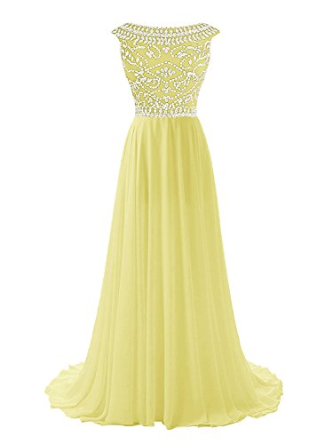 Wedtrend Women's Formal Long Prom Gown Cap Sleeves Evening Dress with Beads WT10120Yellow8 (Night Moves Prom Gowns)