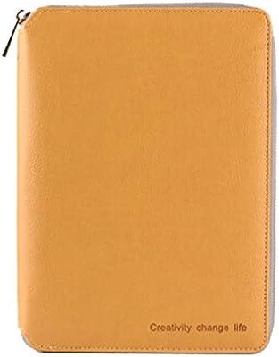 EUHOKD Cuaderno Clásico Carpeta De Cremallera De Cuero ...