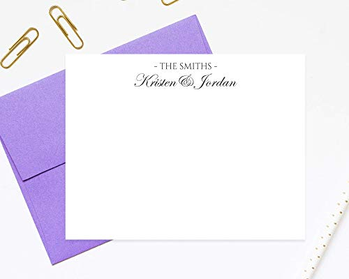 (Traditional Script Personalized Stationary, Elegant Calligraphy Personalized Couple Stationery Notecard with Envelopes Stationery Set)