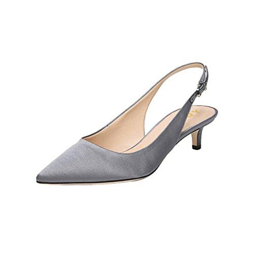Heels Sandals Slingback Pumps Slip on Pointy Toe OL Comfy Shoes Grey-Satin 8.5 ()