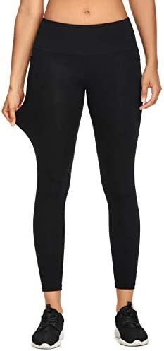 MIKGR Women High Waist Yoga Pants with Pockets Tummy Control Workout Leggings 4 Way Stretch Non See Through 6