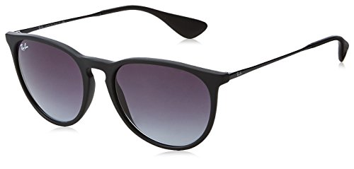 (Ray-Ban RB4171 Erika Round Sunglasses, Black Rubber/Grey Gradient, 54 mm)