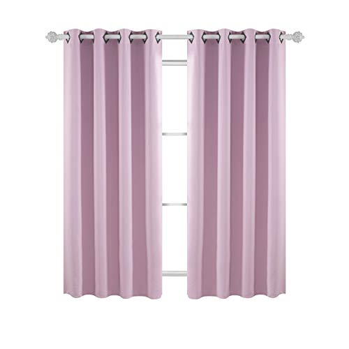 Deconovo Thermal Insulated Window Treatments Blackout Curtains Grommet Top Curtains for Girls Room 52W x 63L Inch Lavender 1 Pair